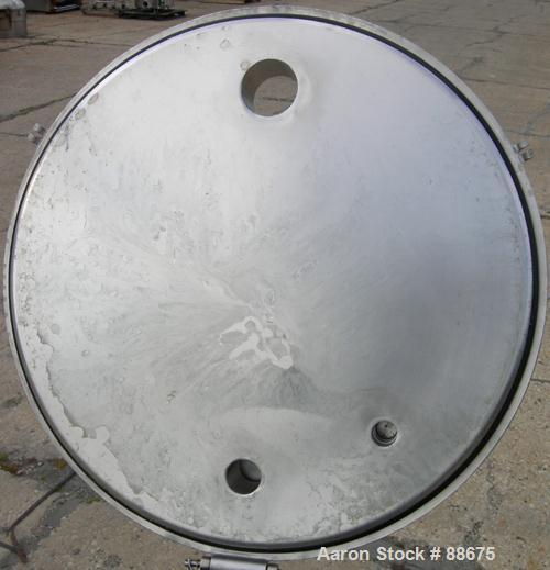 "Used- Paul Mueller Kettle, 100 Gallon, 316 Stainless Steel, Vertical.  28"" diameter x 34"" straight side, open top with a 1-p..."