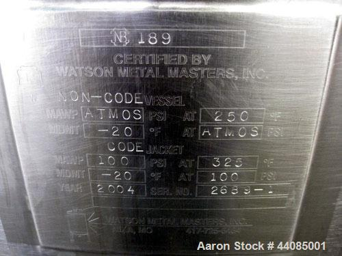 Used- Watson Metal Masters Kettle, 250 Gallon, Stainless Steel.  Double motion with bottom scrapers.  Jacket rated 100 psi a...