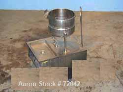 Used- Welbilt Kettle, 6 Gallon, Model KDT6T, Stainless Steel. Rated 50 psi at 298 deg F. Tilt design with pouring lip. Mount...