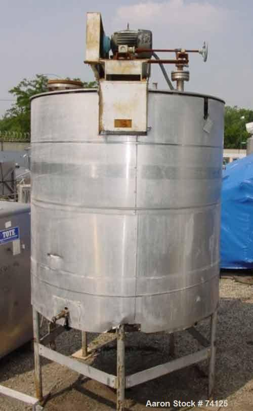 USED: Willflow 1,000 gallon vertical stainless steel jacketed kettle. Jacket rated 90 psi @ 333 deg F. National Board #1217....