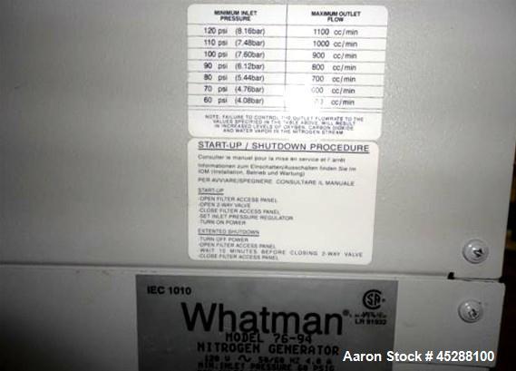 Used- Whatmann UHP Nitrogen Generator, Model 76-94. 60# Minimum inlet pressure, 125 psi maximum outlet pressure, 60-100 f te...