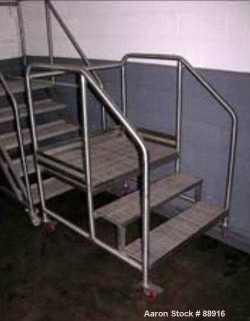 "Used- Set Of Portable Stairs, Stainless Steel. 36"" wide x 24"" high, 3 steps. Mounted on casters."