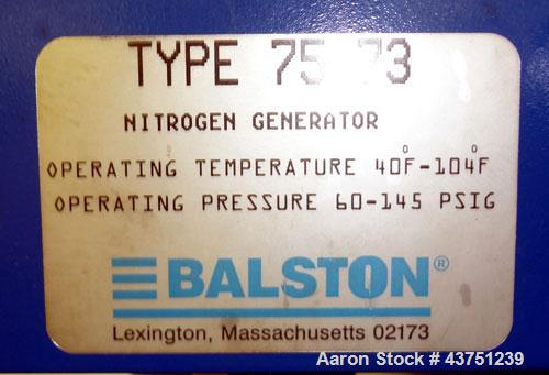 Used- Balston Membrane Nitrogen Generation System, Model 75-73. Approximate capacities: 400 Standard cubic feet per hour. Mi...