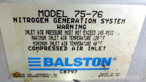 Used- Balston Membrane Nitrogen Generation System, Model 75-76. Approximate capacities:  400 Standard cubic feet per hour.  ...