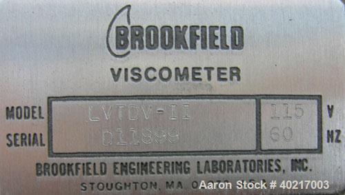 Used- Brookfield low viscosity digital viscometer, model LVTDV-II.  8 speed digital controls, viscosity range rated 15 centi...