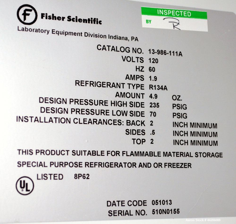 Used- Fisher Scientific Isotemp Flammable Material Storage Refrigerator / Freezer, Catalog# 13-986-111. Approximate 11 cubic...