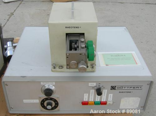 USED- Gottfert Capillary Rheometer, Model 012.01, Series 1000. Approximate 9.5 mm diameter x 200 mm long test barrel, rated ...
