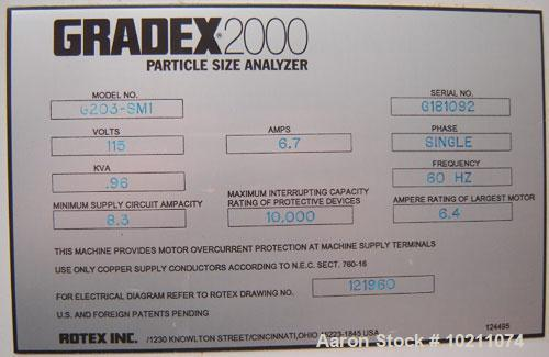 Used-Gradex 2000 Particle Size Analyzer, Model G203-SM1. 115 volt, 6.7 amps, single phase, .96 kva, 60 hz. Minimum supply ci...