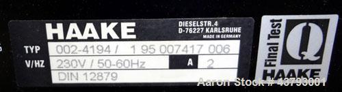 Used- Haake Rheocord 9000 Fisons Rheometer Mixer. Consisting of: (1) Haake model 002-1674 (2) wing rotors, chrome plated. (1...