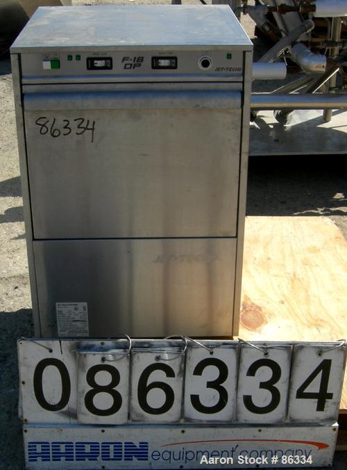 USED: Jet Tech Systems undercounter commercial dishwasher, model F-18DP, 304 stainless steel. Capacity 24 racks per hour, co...