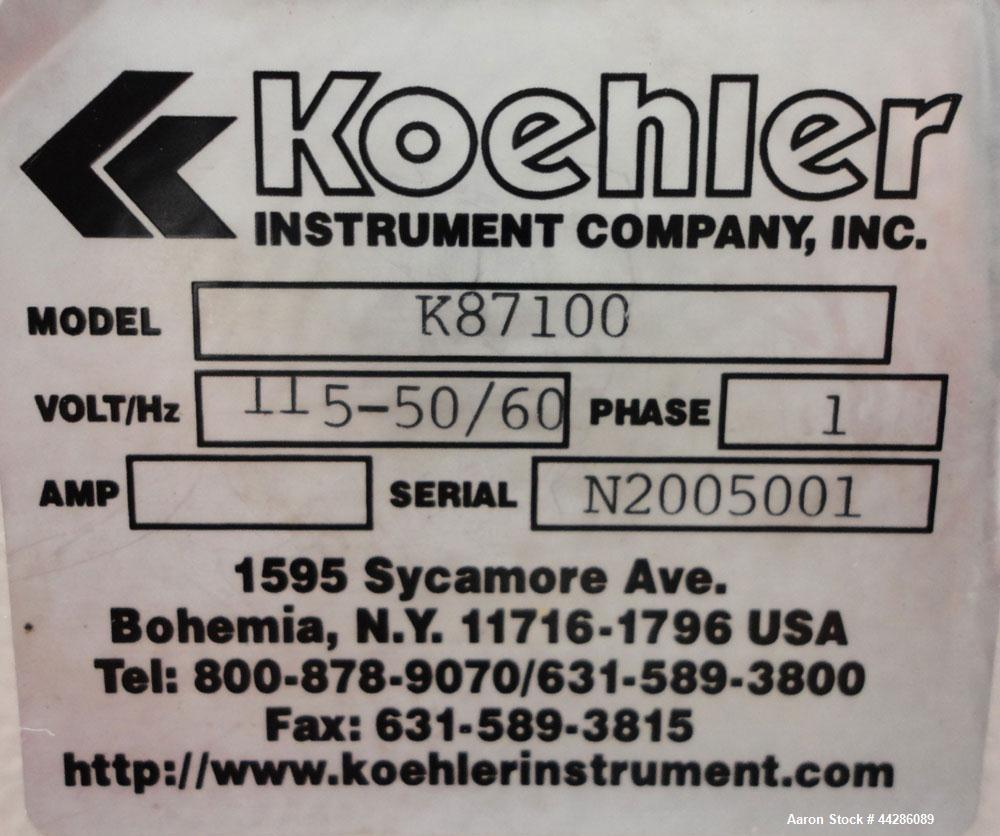 Used- Koehler Instrument Company Flashpoint Apparatus, Model K87100. Closed Cup Flash Point Tester accurately determines the...
