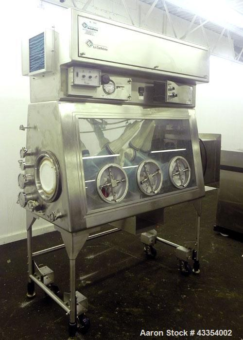 """Used- La Calhene Laboratory Isolator, 316 Stainless Steel. Shell approximate 64"""" long x 33"""" wide x 36"""" tall. Dual sided with..."""