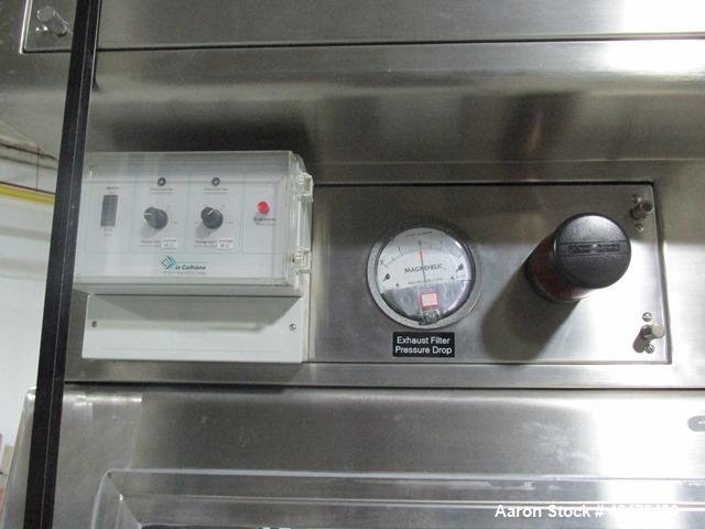 "Used- La Calhene Isolator, Stainless Steel. Approximately 63"" long x 32"" wide x 36"" high chamber, dual sided with (3) gloves..."