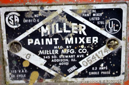 Used- Miller Dual Paint Shaker, Model G.  Dual canister holders, driven by a 1/3hp, 1/60/1150 volt, 1725 rpm motor.