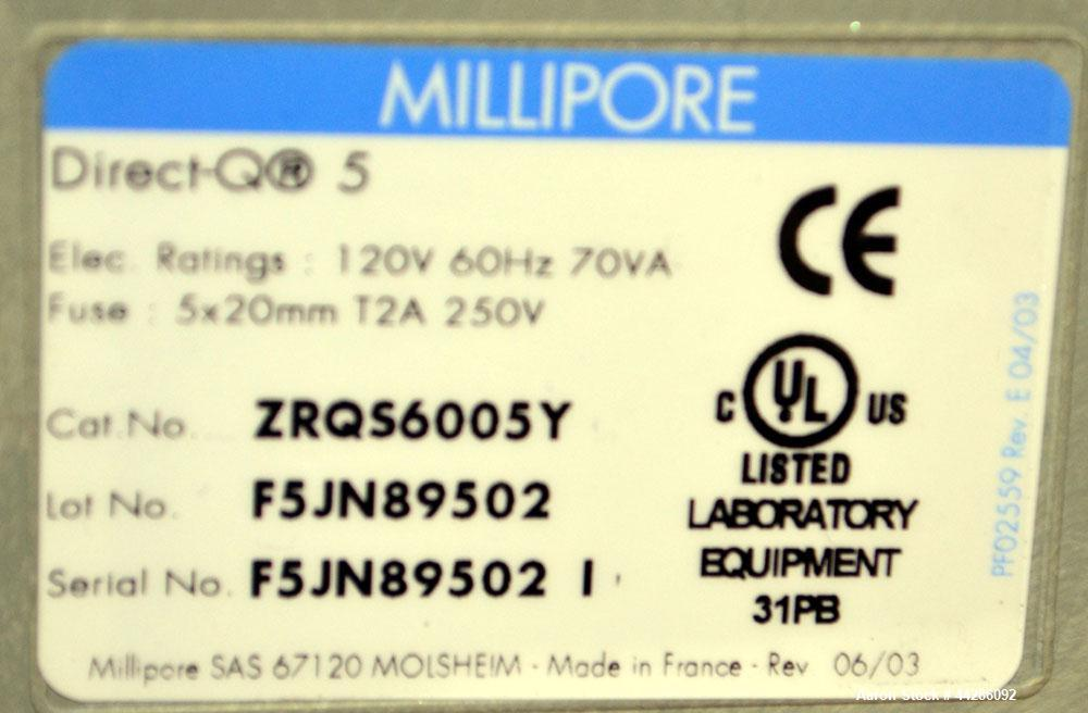 Used- Millipore Ultra Pure Water System, Model Direct-Q5. Catalog# ZRQS6005Y. Produces up to 0.6 L/min of ultrapure water on...