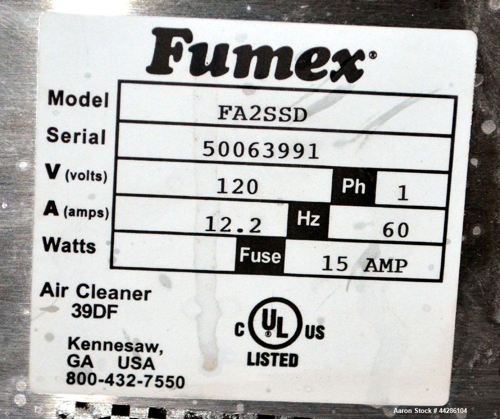 "Used- Fumex Portable Air Filtration System, Model FA2-SSD. 304 Stainless steel cabinet, approximate 210 cfm at 39"" wc. Digit..."