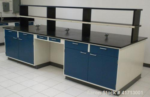 "Used- Lab Counters: (1) 29"" deep x 83 1/2"" long x 36"" high section with 9 drawers; (1) 29"" deep x 84 1/2"" long x 36"" high se..."