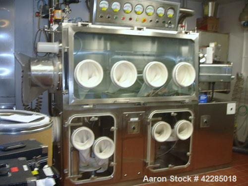 "Used- Powder Systems LTD Isolator Chamber. Single side, dual level, (4) gloves top level with a 14"" wide x 14"" deep x 21"" hi..."