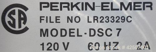 Used- Perkin-Elmer Differential Scanning Calorimeter, Model DSC-7. Rated 30 degrees C to 720 degrees C (86 - 1328 degrees F)...