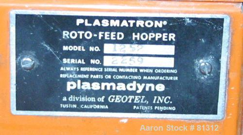 "USED: Plasmatron Plasmadyne roto feed hopper, model 1252, aluminum. 4-3/4"" diameter x 12"" deep. 4-1/2"" sightglass top cover...."