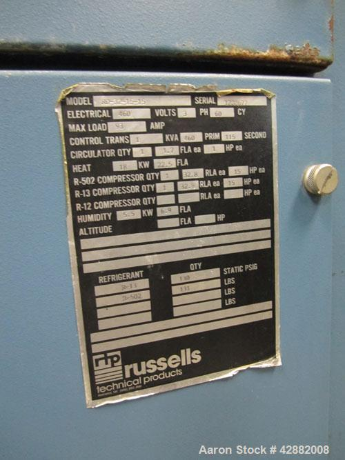 Used-Russells Technical Products Environmental  (Temperature/ Humidity) Chamber, Model RD32-15-15, A/C. Heat rejected kW = 3...