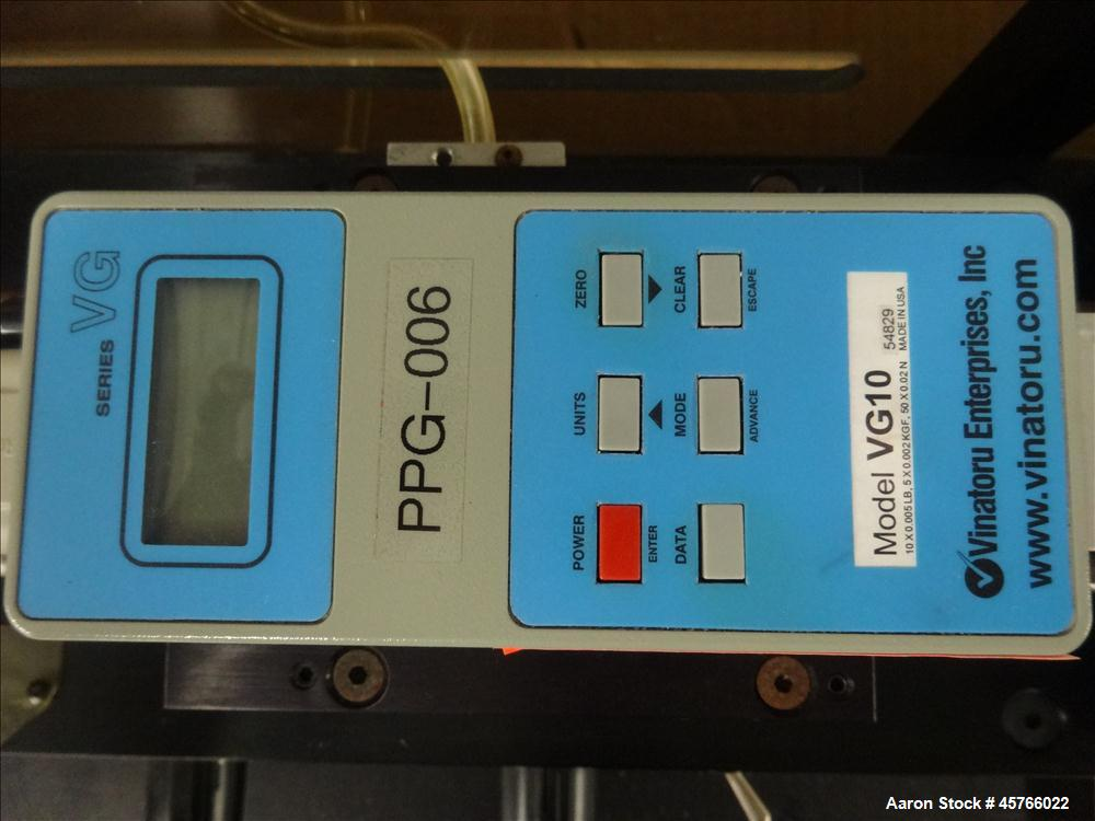 """Used- Vinatoru Enterprises Tensile/Strength Tester, Model RFD. Can test trays with sides over 1-1/4"""" and up to 3-1/2"""" depth...."""