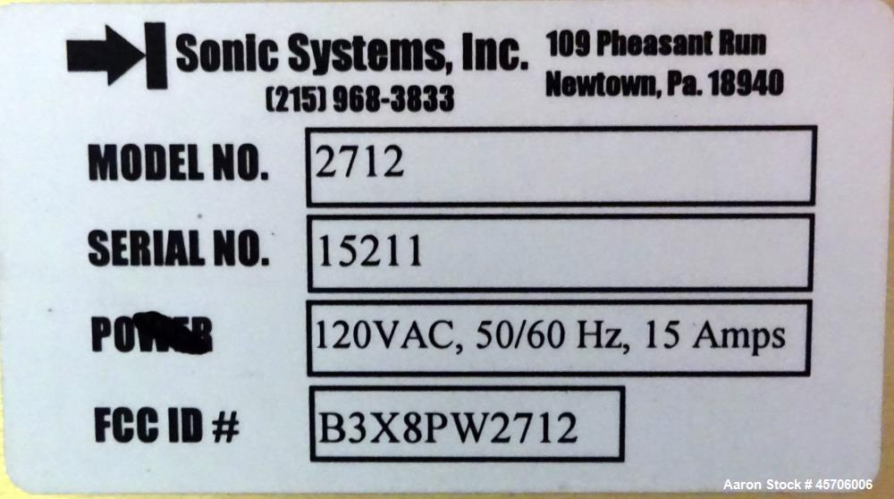 Used- Sonic Systems Ultrasonic Cleaner, Model 12754.