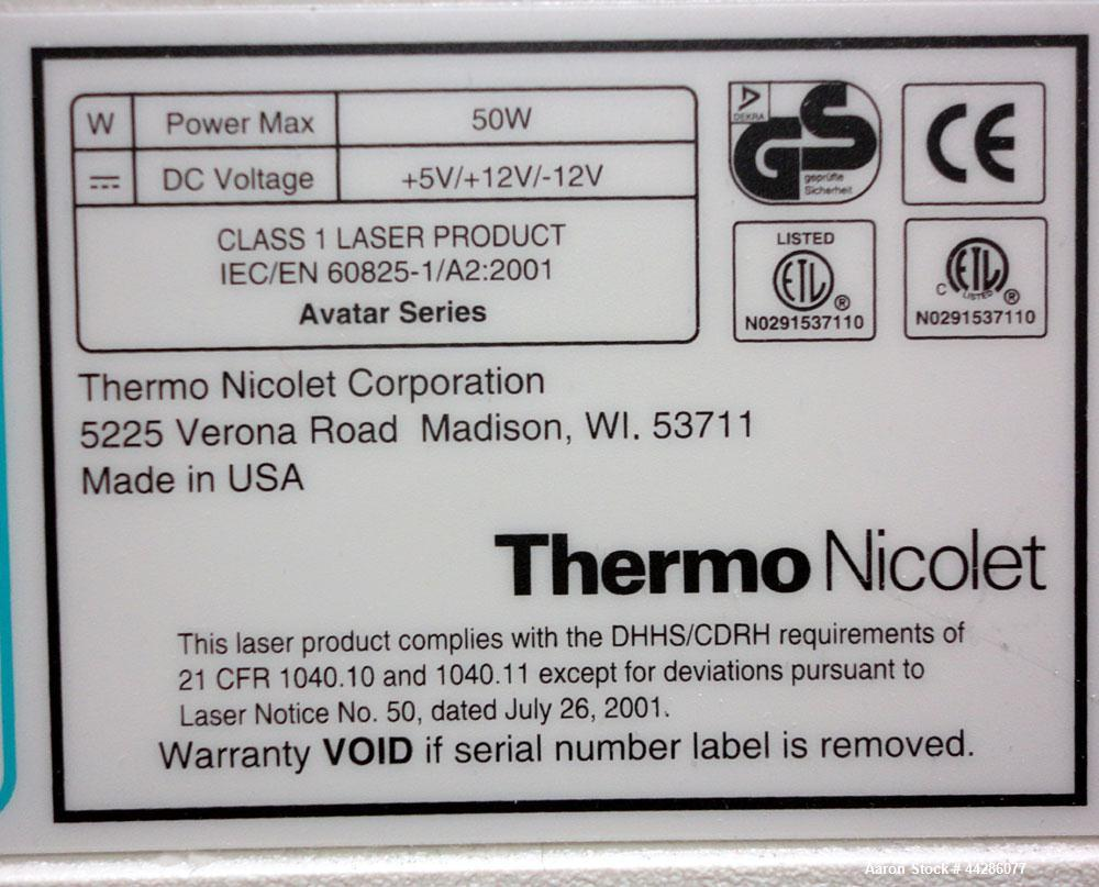 Used- Thermo Nicolet Avatar 370 FT-IR Fourier Tranform InfraRed Spectrometer
