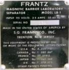 Used- S.G. Frantz Company Magnetic Barrier Laboratory Separator, Model LB-1. Designed for the separation of dry materials ac...