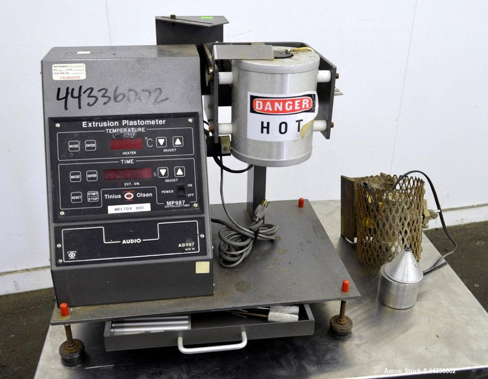Used- Tinius Olsen Extrusion Plastometer/Melt Indexer, Model AD987.
