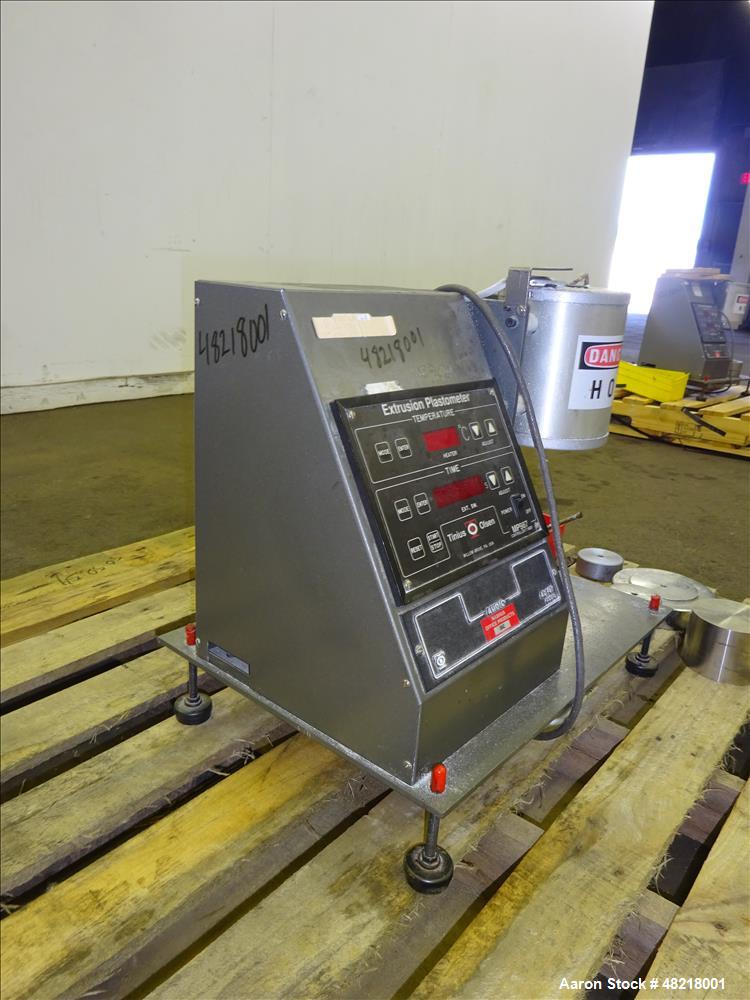 Used- Tinius Olsen Extrusion Plastometer/Melt Indexer, Model MP 987.