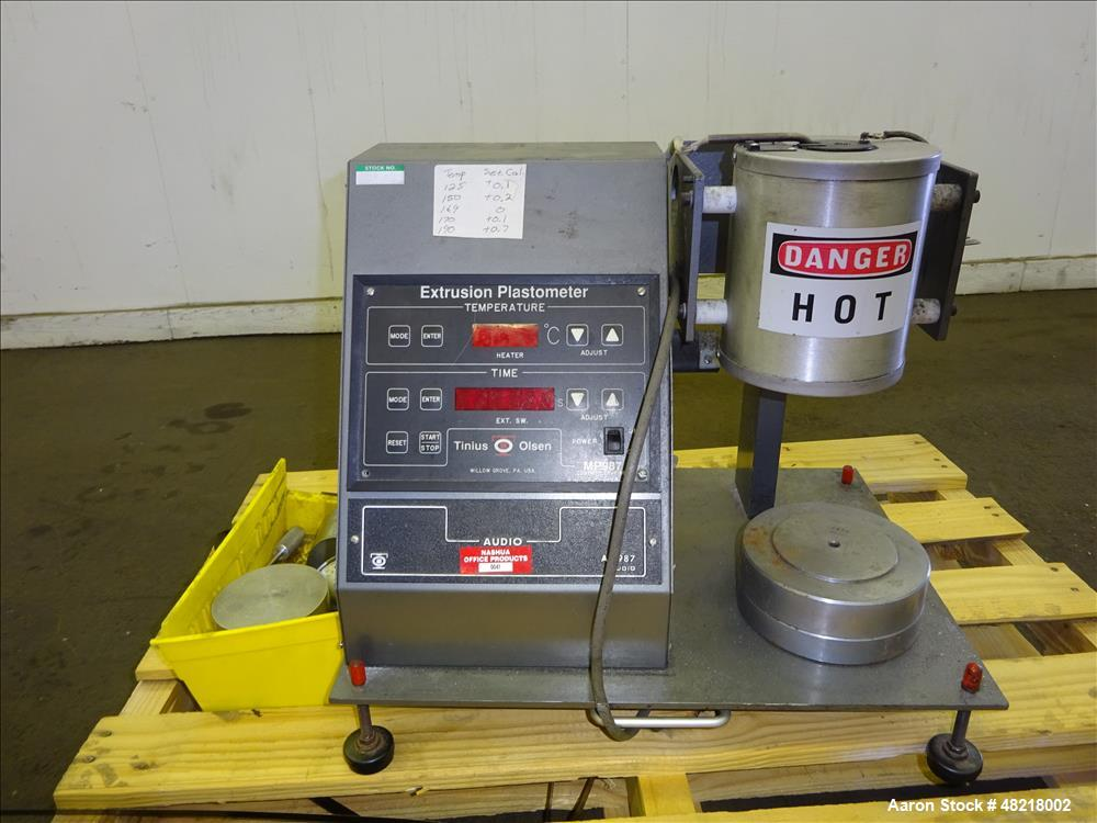 Used- Tinius Olsen Extrusion Plastometer/Melt Indexer, Model MP 987.