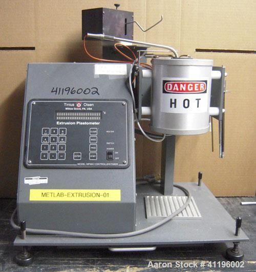 Used- Tinius Olsen Extrusion Plastometer/Melt Indexer. Used for measuring the flow rates of thermoplastics.  Two zone temper...