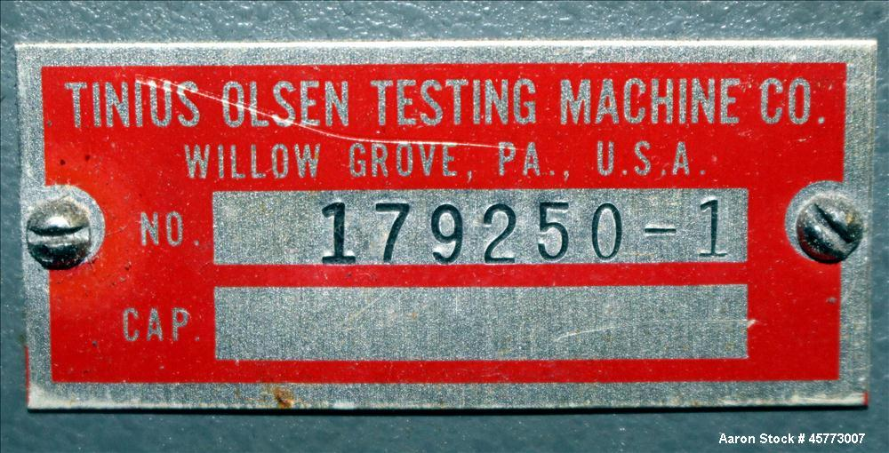 Used- Tinius Olsen Extrusion Plastometer / Melt Indexer. Used for measuring the flow rates of thermoplastics.  Two zone temp...