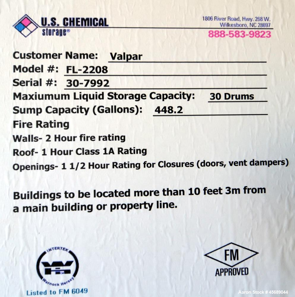 Used- U.S. Chemical Storage FireLoc Duplex Storage Building.