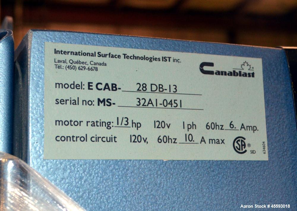 Used- Canablast model 28 DB-13 sandblasting cabinet, 1/3 hp, s/n 32A1-0451