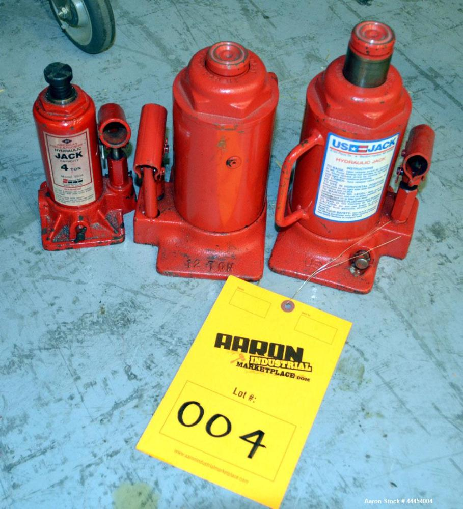 Used-(1) Lot of manual bottle hydraulic jacks, (1) 4 ton, (2) 12 ton.
