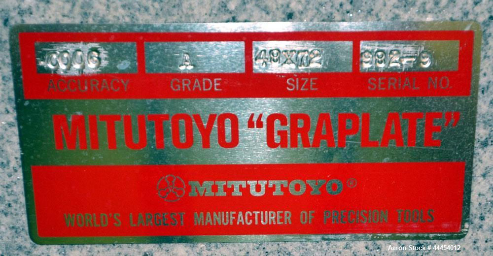 Used-Mitutoyo Graplate Granite Table, Size 48x72, Grade A, Accuracy .0006, Serial #982-9.