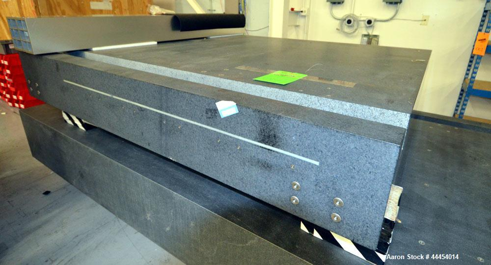 "Used-Mitutoyo Graplate Granite Table, overall size approximately 84"" x 71"" x 12"" tall."