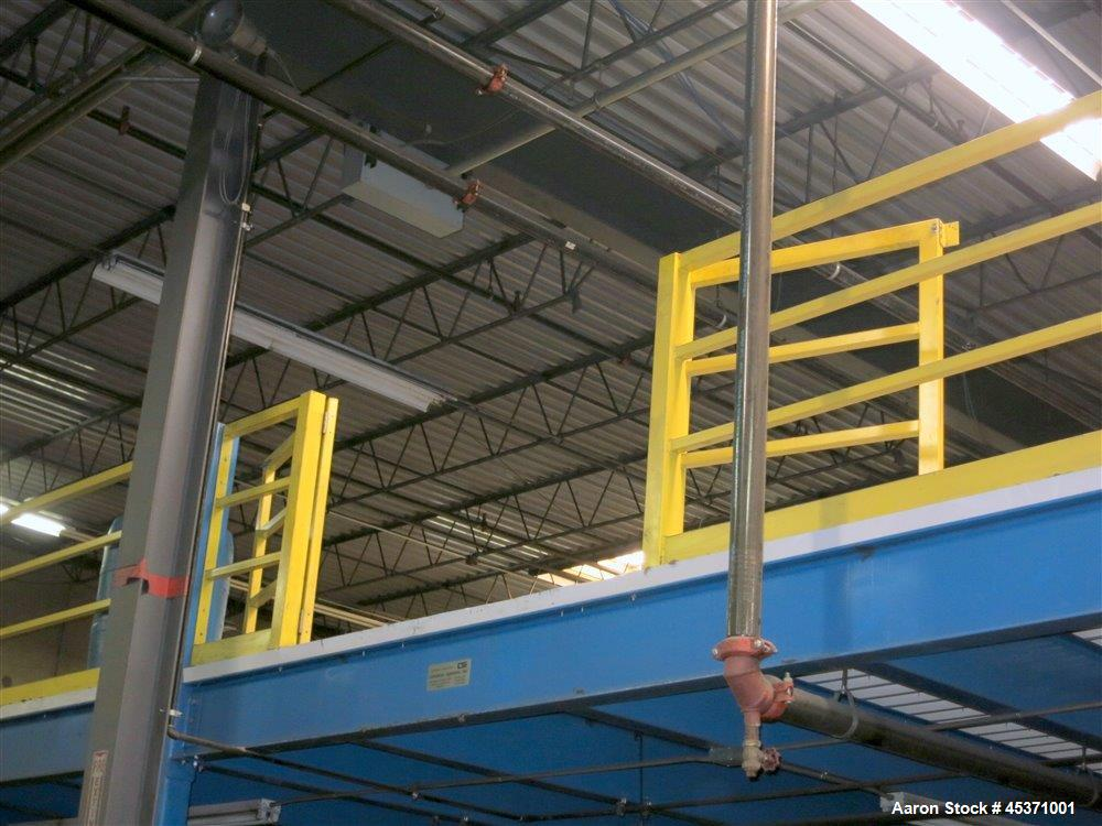 Used- Torbeck Industries Mezzanine. 7200 Square Feet. Approximate 96 x 75. Carbon Steel Bolted Construction. Corrugated Ceil...