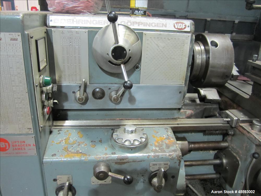 "Used-VDF/Boehringer 24"" x 96"" C.C. gap bed engine lathe, 5"" spindle bore, three jaw chuck, Heidenhain three axis digital rea..."