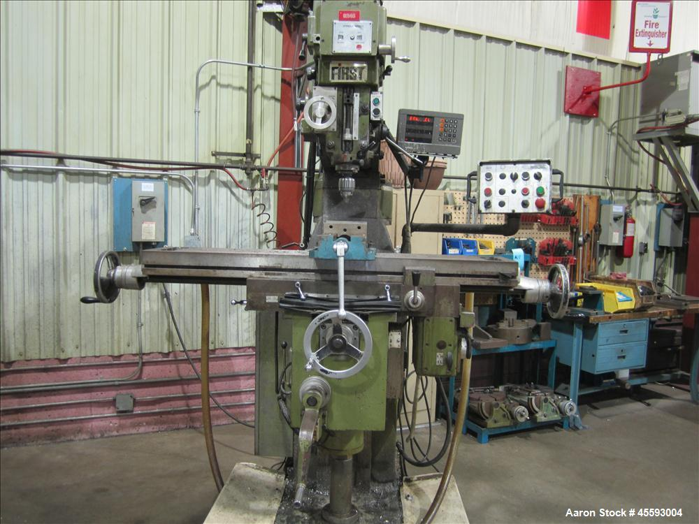 Used-First milling machine c/w three axis digital read-out controller c/w drawbar