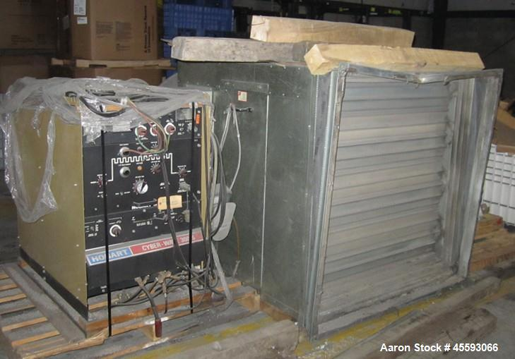 Used-(11) pallets of assorted electrical, hydraulic power pack, wall mounted blower, Hobart model Cyber-Wave 300S electric p...