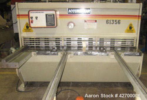 "Used-Accurshear Hydraulic Shear, 6' x 10 ga, Model 61356. 76"" Knives, 83"" between housings, 3/16"" rake angle, 10 ton hold do..."