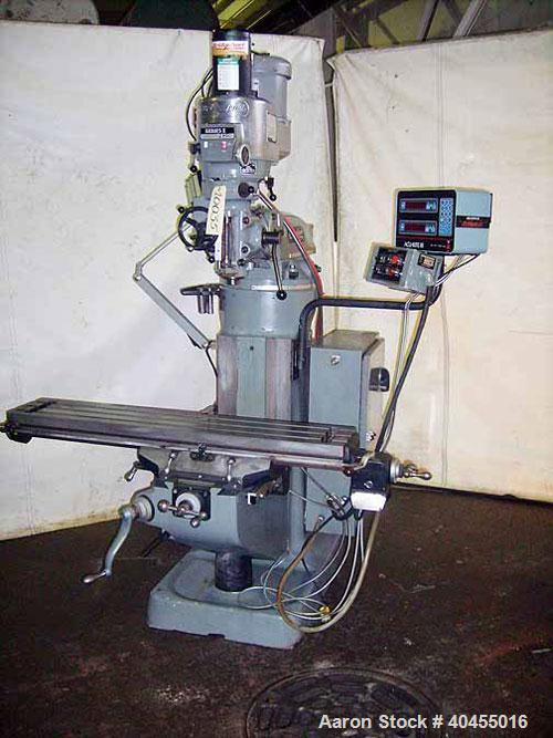 """Used- Bridgeport Series I vertical milling machine. Table size 9"""" x 48"""". Table travels: logitudinal 36"""", cross 12"""", quill tr..."""