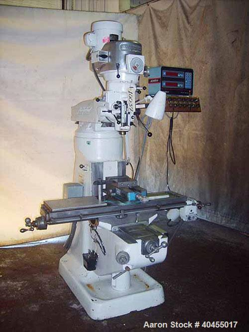 "Used- Bridgeport 9"" X 42"" Series I vertical milling machine. Table size 9"" x 42"". Table travels: longitudinal 30"", cross 12""..."