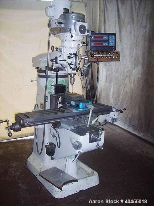 """Used- Bridgeport Series I vertical milling machine. Table size 9"""" x 42"""". Table travels: longitudinal 30"""", cross 12"""", quill t..."""