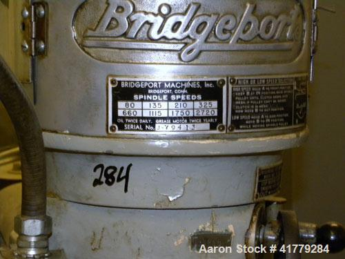 Used- Bridgeport Vertical Milling Machine, Model 4427. Spindle speeds 80- 2720 (variable). Driven by a 1 hp motor. Equipped ...