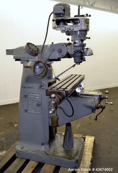"Used- Bridgeport Machines Series 1 Knee Mill.  Spindle speeds 80- 2720 (variable). Table size 9"" deep x 42"" wide. Driven by ..."