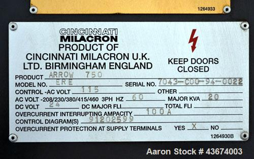 "Used- Cincinnati Milacron Arrow 750 Vertical Machining Center, Model ERE. 37"" x 20"" Table area, Longitude travel (X) 30"", Cr..."